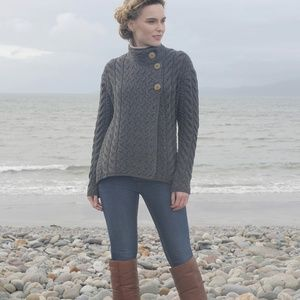 New Aran Super Soft Wool Cardigan Ireland  L